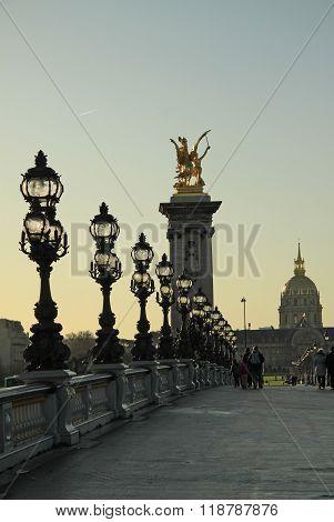 Paris, France -18 December 2011: Pont Alexandre Lll On Sunset, Paris, France