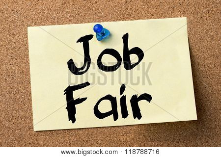 Job Fair - Adhesive Label Pinned On Bulletin Board