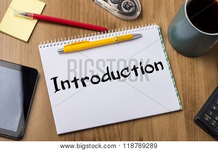 Introduction - Note Pad With Text