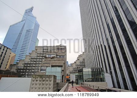 Paris, France - February 9, 2016: Sky-scrapers in a Paris district Defense. Because of it's modern architecture this district is called the Paris Manhattan