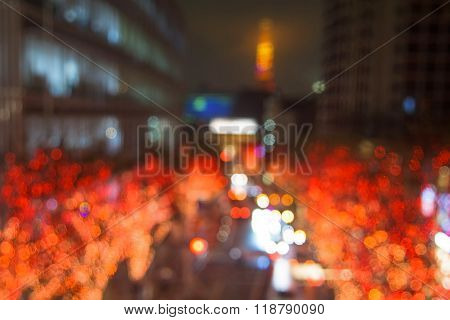 Blurred Abstract Of Illumination And Tokyo Tower