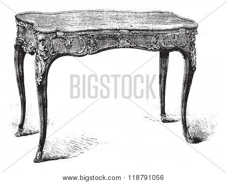 Work table Louis XV style, Mr Double collection, vintage engraved illustration. Magasin Pittoresque 1876.