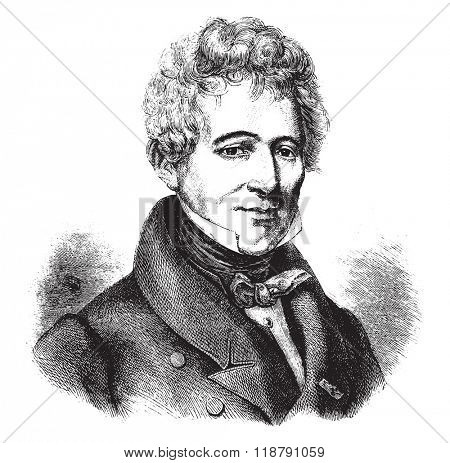 Barthelemy de Lesseps, after a portrait of belonging to the family, vintage engraved illustration. Magasin Pittoresque 1877.