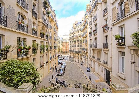 Paris, France, February 7, 2016: View to Paris from Montmartre - the well-known bohemian district in Paris, France
