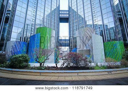 Paris, France, February 9, 2016: Sky-scrapers in a Paris district Defense. Because of it's modern architecture this district is called the Paris Manhattan