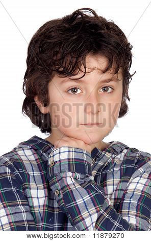 Sad Child With Plaid T-shirt