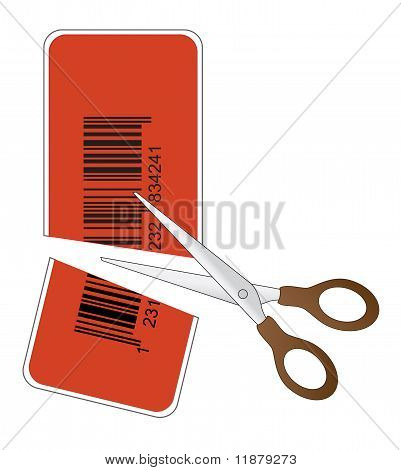scissors cutting price tag with bar code