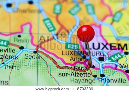 Esch-sur-Alzette pinned on a map of Luxembourg