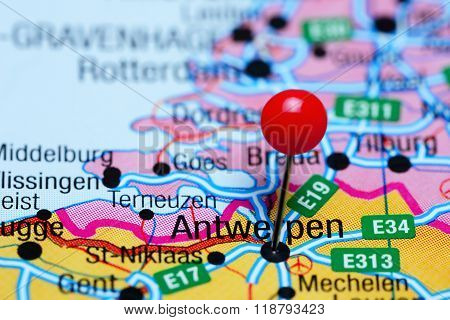 Antwerpen pinned on a map of Belgium