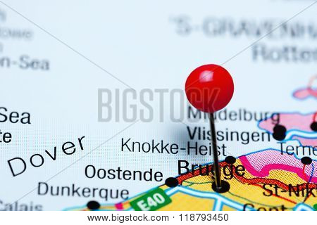 Brugge pinned on a map of Belgium