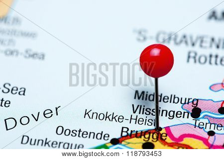 Knokke-Heist pinned on a map of Belgium