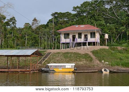 IQUITOS, PERU - OCTOBER 15, 2015: Pacaya Samiria. Ranger station at the National Park in the Peruvian Amazon.