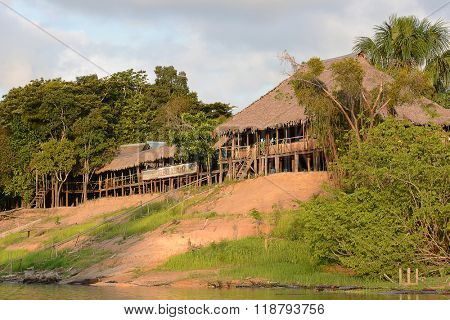 IQUITOS, PERU - OCTOBER 12, 2015: Suenos del Momon. An animal rescue center on the Momon River in the Peruvian Amazon.