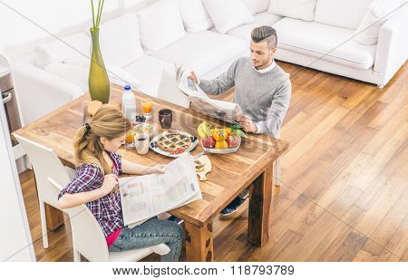 Couple Doing Breakfast At Home