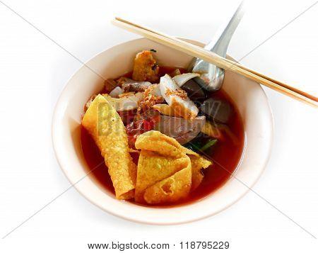 Yentafo noodle isolated on white background