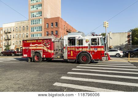 Fire Brigade Car At The Street In Brooklyn, New York