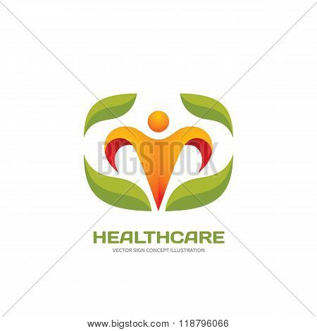 Healthcare - vector logo concept illustration. Flower logo sign. Human character logo sign.