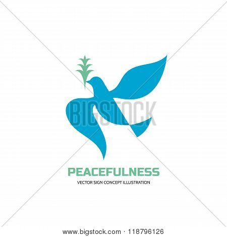 Peacefulness - vector logo concept illustration in classic graphic style. Dove logo.