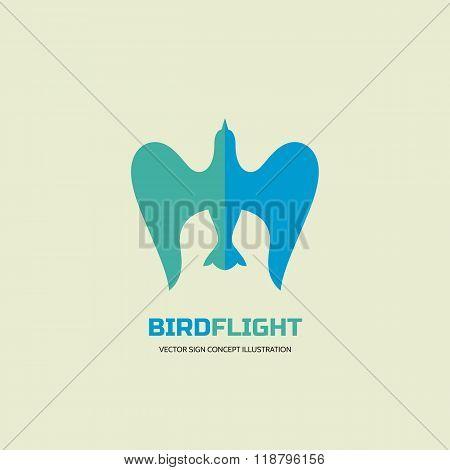 Bird flight - vector logo concept illustration in classic graphic style. Bird logo sign. Dove logo.