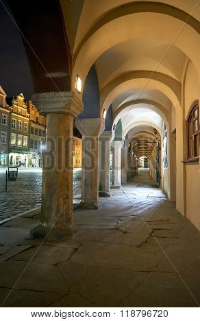 Arcade during the night in the Old Market Square