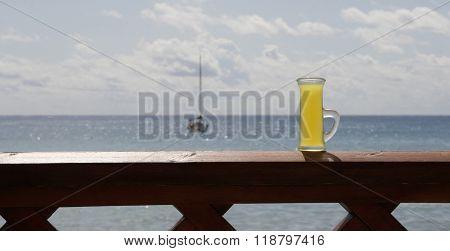 italian limoncello background sea