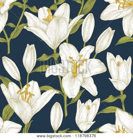 Vector floral seamless pattern with white lilies.