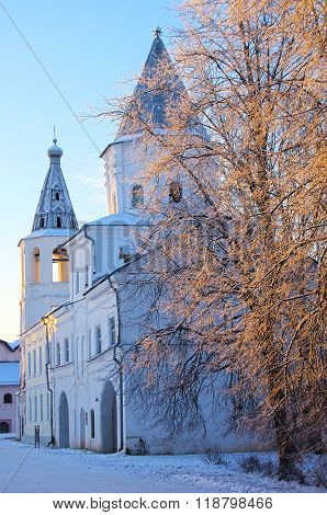 Veliky Novgorod, Russia - January, 2016: The Bell Tower Of St. Nicholas Cathedral And The Gate Tower