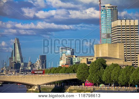 Cityscape Of London In Late Afternoon Light From Hungerford Bridge.