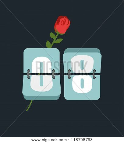 8 March. Countdown Timer. Figure 8. International Womens Day. Red Rose And Watches