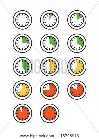 Timer icons set