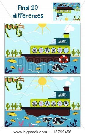 Cartoon Of Education To Find 10 Differences In Children's Pictures, The Boat Floats With Cute Tr