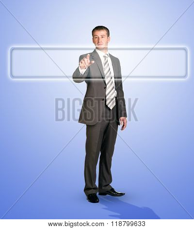 Businessman touching browser