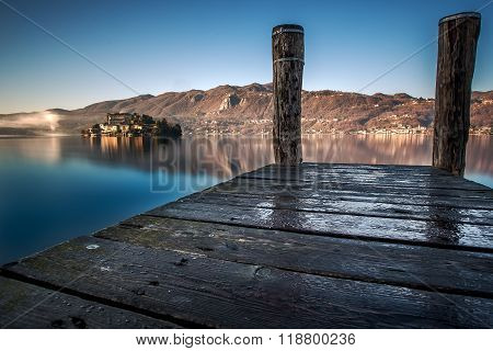 Orta San Giulio island in the lake Orta, North Italy, Piedmont