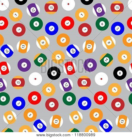 Seamless Pattern Snooker Billiard Balls