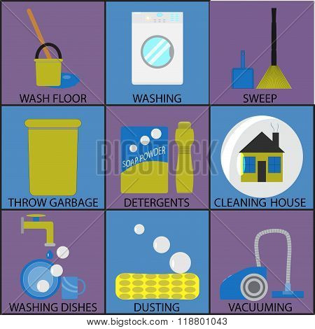 Cleaning Icon Set Washing Dusting And Sweep