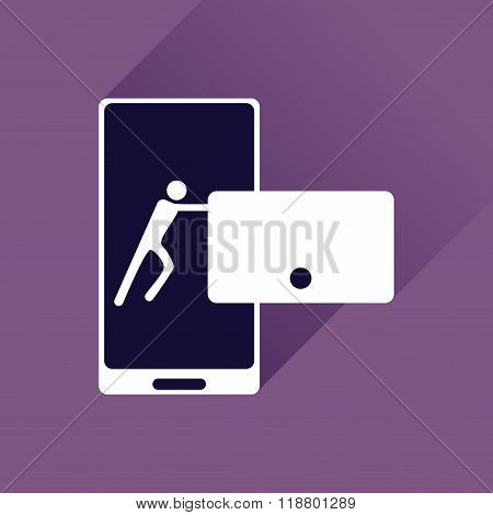 Flat web icon with long shadow phone message