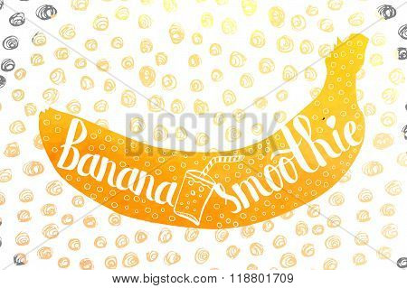 Colorful Watercolor Print Of The Pattern On The Silhouette Of A Vegetarian Fruit. Nutritious Banana