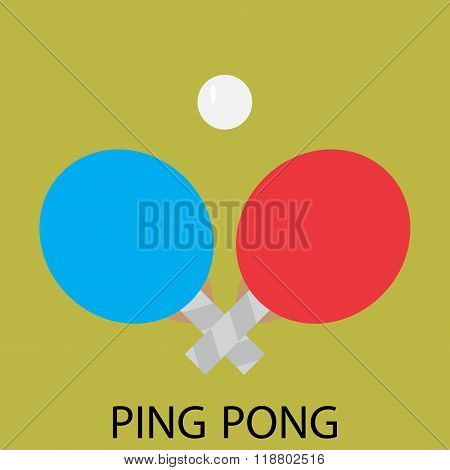 Ping Pong Sport Icon Flat