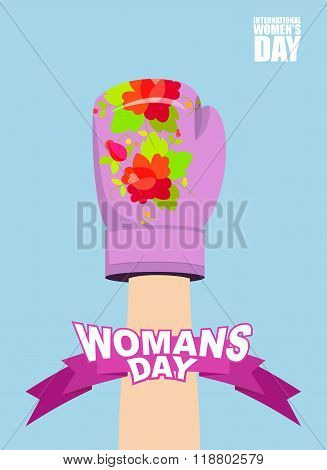 Womens Day. 8 March. Female Hand In Boxing Glove. Up-hand Posture. International Womens Day. Symbol