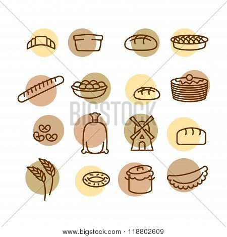 Bakery Set Of Icons. Characters Of Food And Bread. Windmill And The Dough. Ears Of Wheat, Corn And B