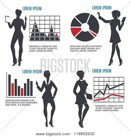 Business Woman With Charts Set