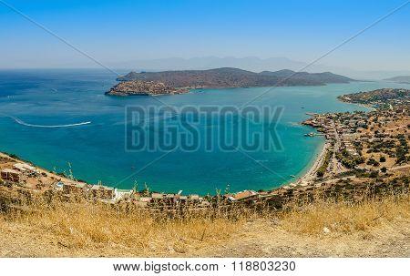 View at Plaka bay near Aghios Nikolaos city on Crete island, Greece