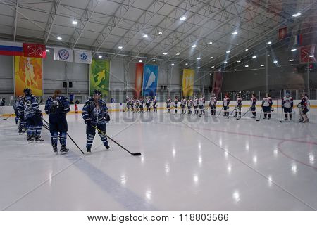 ST. PETERSBURG, RUSSIA - FEBRUARY 17, 2016: Teams before the women's ice hockey match Dinamo Saint-Petersburg vs Biryusa Krasnoyarsk. The teams fighting for 3rd place in Russian championship