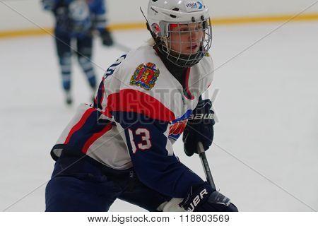 ST. PETERSBURG, RUSSIA - FEBRUARY 17, 2016: Kristina Nizovtseva of  women's ice hockey team Biryusa Krasnoyarsk in the match against Dinamo Saint-Petersburg. Dinamo won the match 3-1