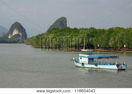 Krabi, Thailand - January,  2014: View Of The Embankment Krabi