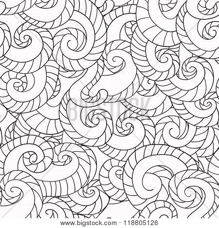 Coloring For Adults. Pattern From Waves