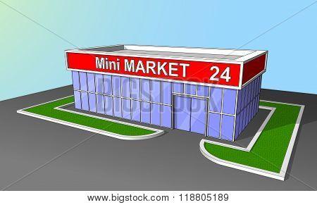 Mini Market Shop Facade Retail Trade 24 Hours