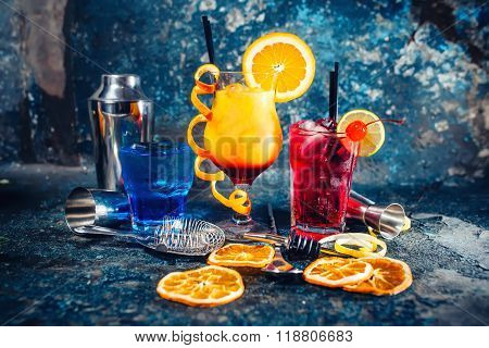 Alcoholic Booze Served Cold As Bar, Drinks And Refreshments With Garnish