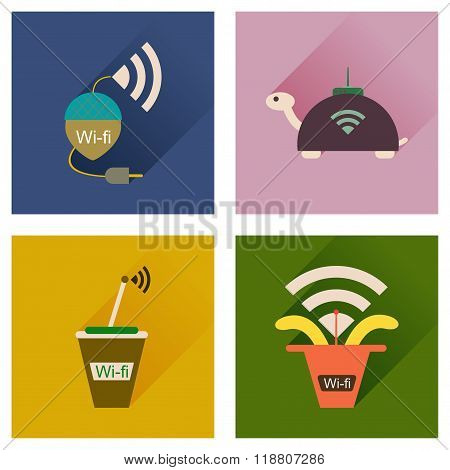 Concept of flat icons with long shadow Wi-Fi