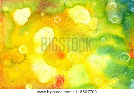 Abstract seamless watercolour aquarelle hand drawn wash drawing arty grunge creative splatters blots blobs paper texture on green and yellow background horizontal picture